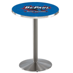 "Holland Bar Stool 42"" Stainless Steel DePaul University Pub Table with Round Base"