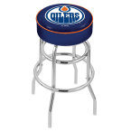 "Holland Bar Stool 25"" Edmonton Oilers Cushion Seat Swivel Bar Stool with Double-Ring Chrome Base"