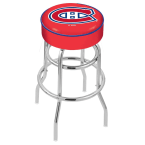 """Holland Bar Stool 25"""" Montreal Canadiens Cushion Seat Swivel Bar Stool with Double-Ring Chrome Base"""