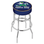 "Holland Bar Stool 25"" Notre Dame (Leprechaun) Cushion Seat Swivel Bar Stool with Double-Ring Chrome Base"