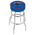 "Holland Bar Stool 30"" DePaul University Cushion Seat Swivel Bar Stool with Double-Ring Chrome Base"