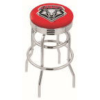"Holland Bar Stool 25"" Chrome University of New Mexico Double-Ring Swivel Bar Stool with 2.5"" Ribbed Accent Ring"