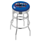 "Holland Bar Stool 30"" Chrome DePaul University Double-Ring Swivel Bar Stool with 2.5"" Ribbed Accent Ring"