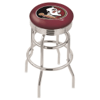 "Holland Bar Stool 30"" Chrome Florida State (Head) Double-Ring Swivel Bar Stool with 2.5"" Ribbed Accent Ring"