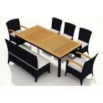 Harmonia Living Arbor 7-Piece Bench Dining Set with Canvas Natural Cushions