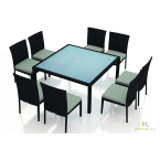 Harmonia Living Urbana 9-Piece Square Outdoor Dining Set with Canvas Spa Cushions