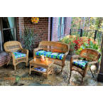 Tortuga Outdoors Portside 4 Piece Seating Set in Amber Wicker with Monti Leaf Cushions
