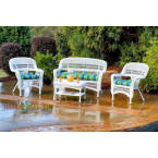 Tortuga Outdoors Portside 4 Piece Seating Set in White Wicker with Monti Leaf Cushions