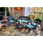 Tortuga Outdoors Portside 6 Piece Seating Set in Dark Roast Wicker with Monti Leaf Cushions