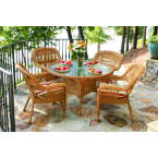 Tortuga Outdoors Portside 5 Piece Dining Set in Amber Wicker with Haliwell Caribbean Cushions