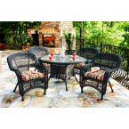 Tortuga Outdoors Portside 5 Piece Dining Set in Dark Roast Wicker with Monti Leaf Cushions