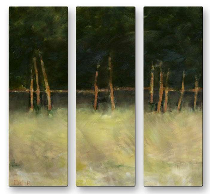 "23.5"" x 26"" ""Trees at Edge of Meadow"" Metal Wall Art by Janet Dyer"