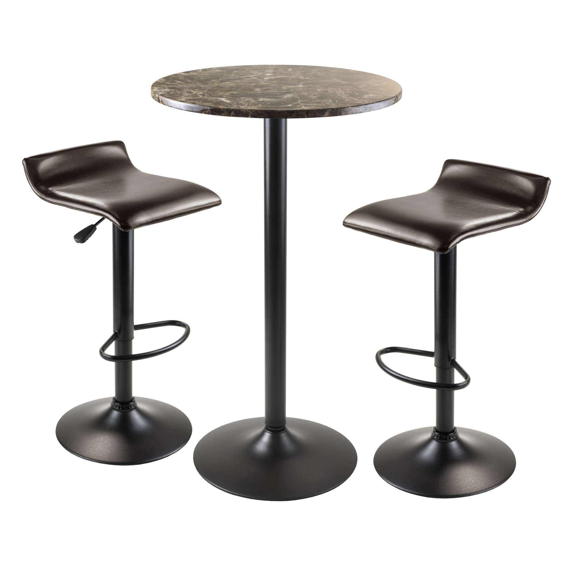 winsome wood cora black 3 piece round pub table set reviews. Black Bedroom Furniture Sets. Home Design Ideas