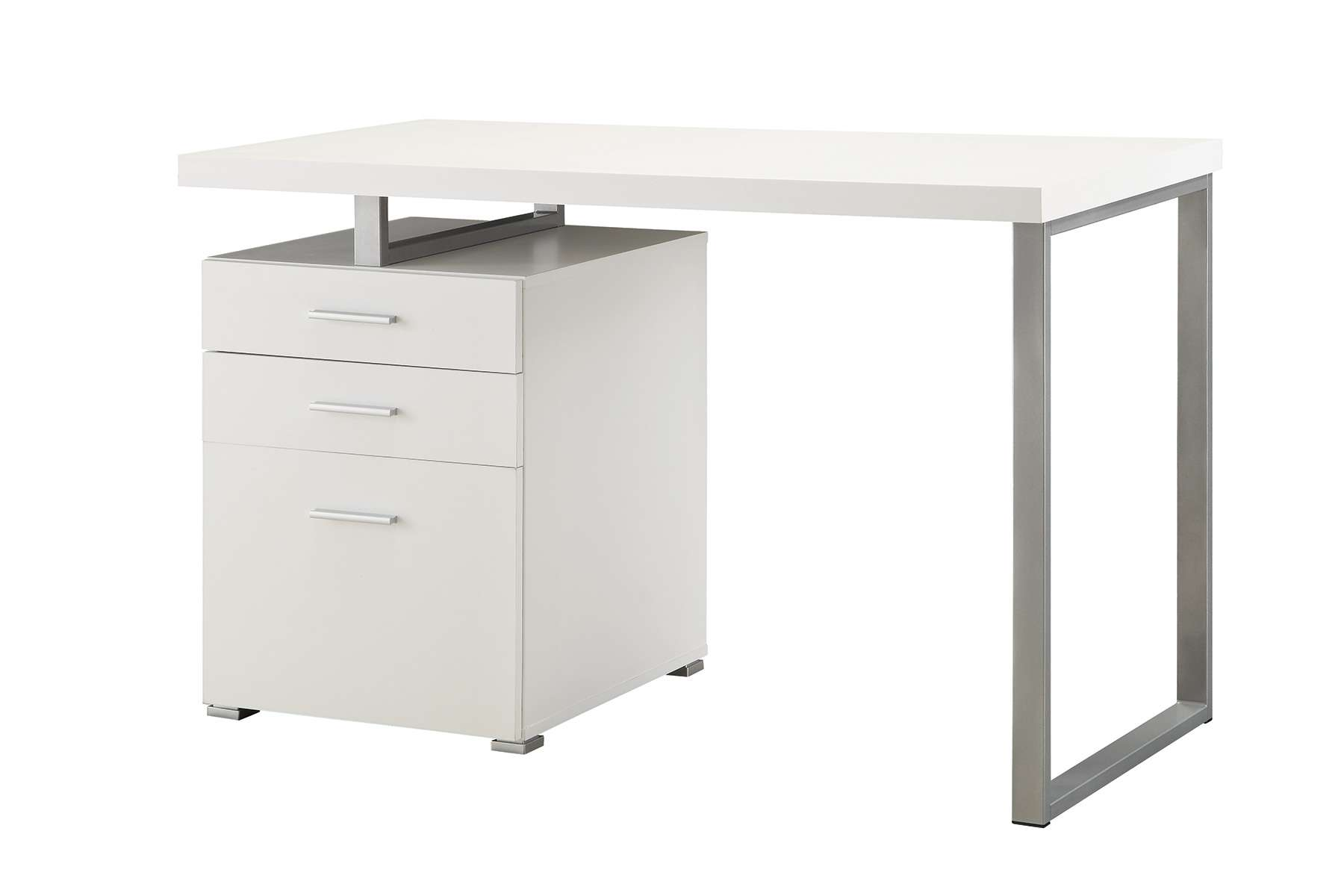 White Writing Desk with File Drawer and Reversible Set-Up