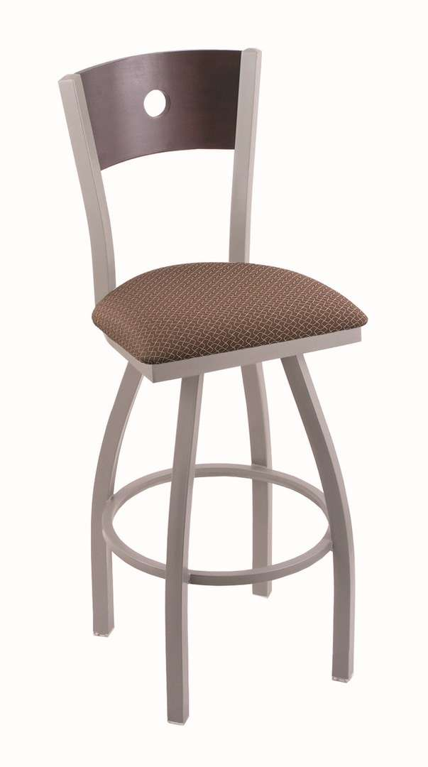 """830 36"""" Voltaire Anodized Nickel Swivel Stool with Dark Cherry Maple Back and Axis Willow Seat"""