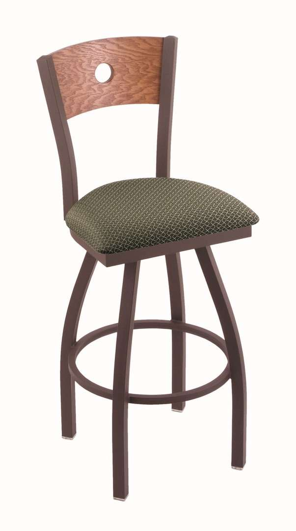"""830 30"""" Voltaire Bronze Swivel Stool with Medium Oak Back and Axis Grove Seat"""