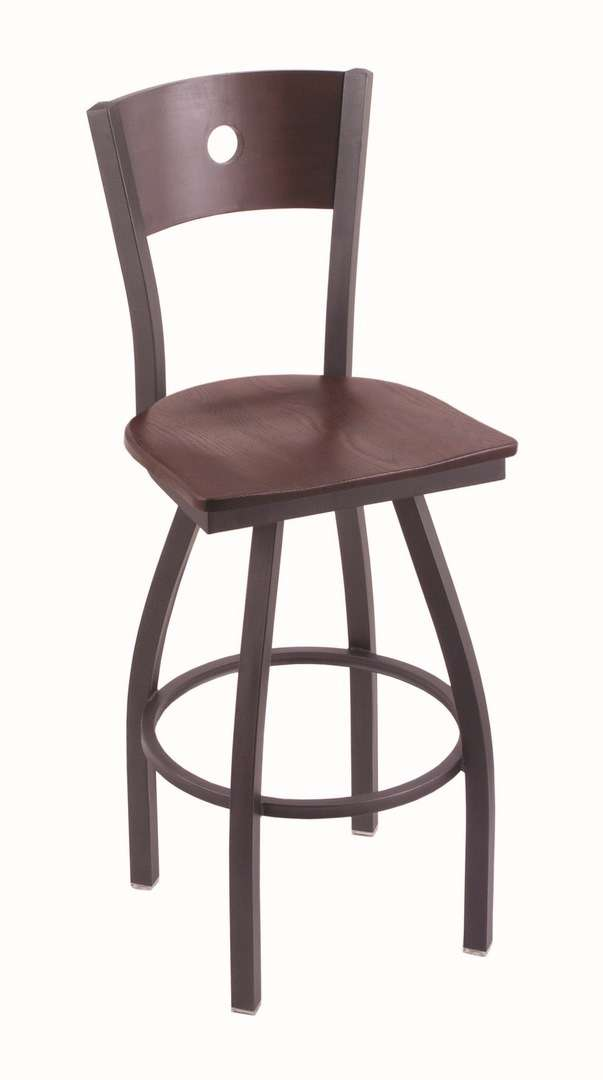 """830 30"""" Voltaire Pewter Swivel Stool with Dark Cherry Oak Back and Dark Cherry Oak Seat"""