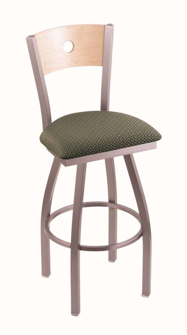 """830 36"""" Voltaire Stainless Swivel Stool with Natural Maple Back and Axis Grove Seat"""
