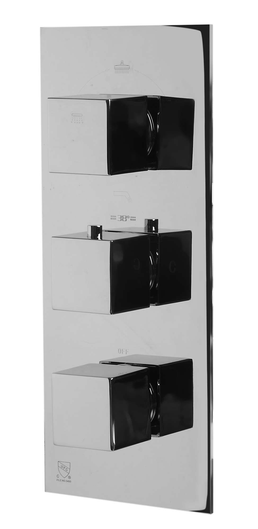 AB2901-PC Polished Chrome Concealed 4-Way Thermostatic Valve Shower Mixer /w Square Knobs