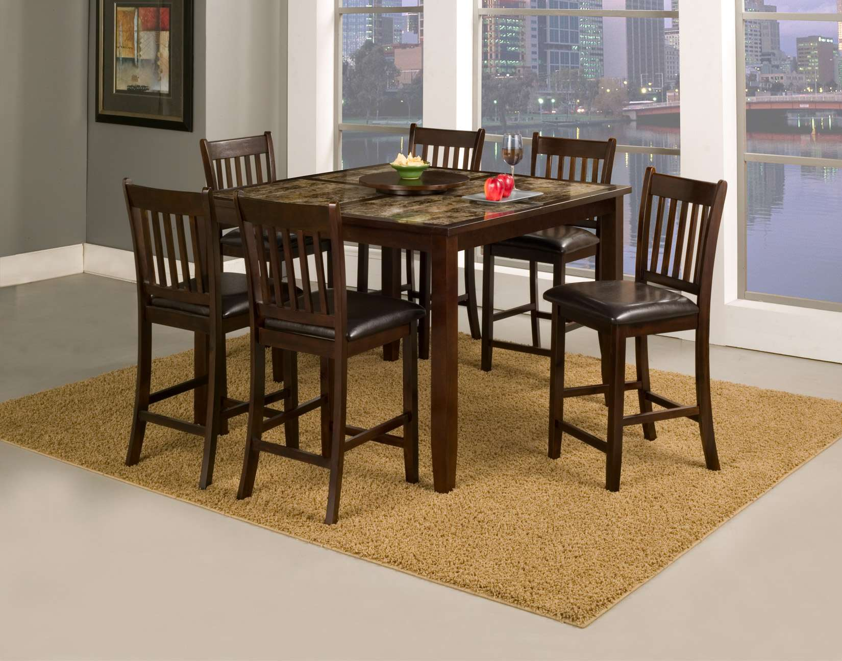 """Capitola Espresso Faux Marble Large Pub Table with Removable 18"""" Lazy Susan"""