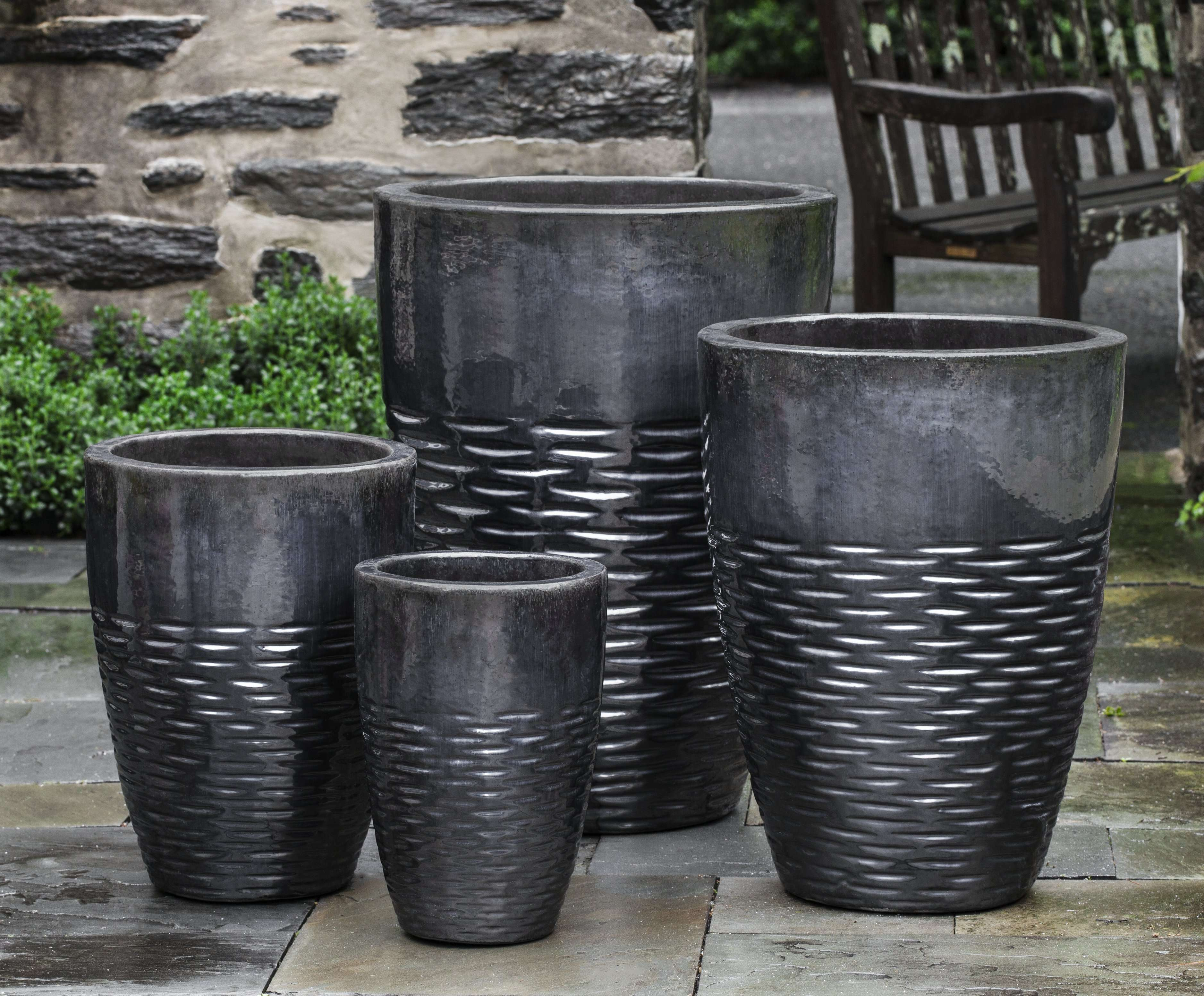 Hyphen Ice Black Tall Planter - Set of 4 in Various Sizes