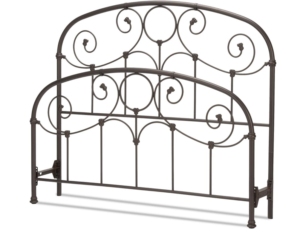 Grafton Rusty Gold California King Bed with Metal Scrollwork Panels & Decorative Castings
