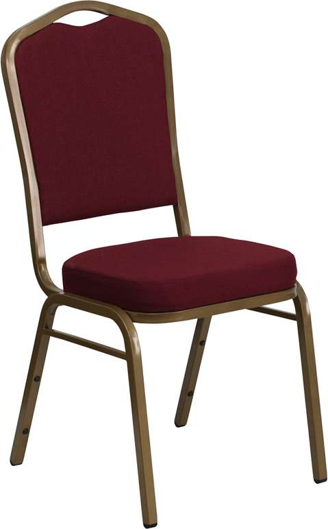 Hercules Series Crown Back Stacking Banquet Chair with Burgundy Fabric and Gold Frame