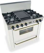 "36"" White Natural Gas Open Burner Range with Brass Trim"