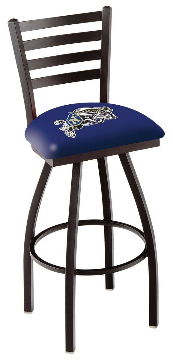 "30"" Black Wrinkle US Naval Academy Swivel Bar Stool with Ladder Style Back"
