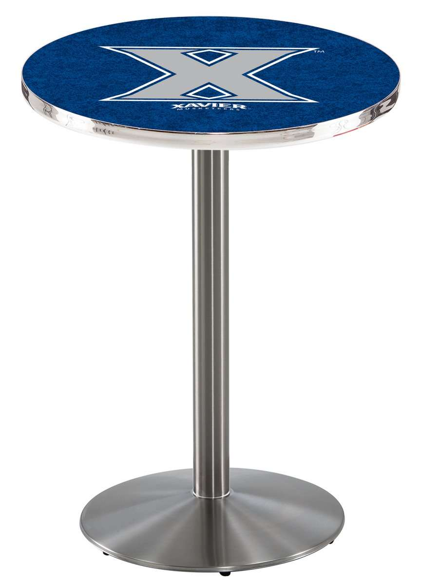 "42"" Stainless Steel Xavier Pub Table with Round Base"