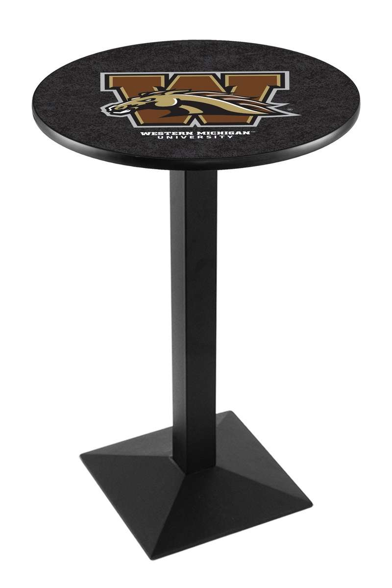 """42"""" Black Wrinkle Western Michigan University Pub Table with Square Base"""