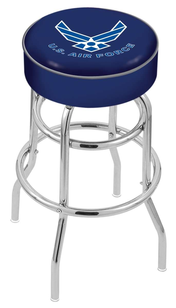 "25"" United States Air Force Cushion Seat Swivel Bar Stool with Double-Ring Chrome Base"