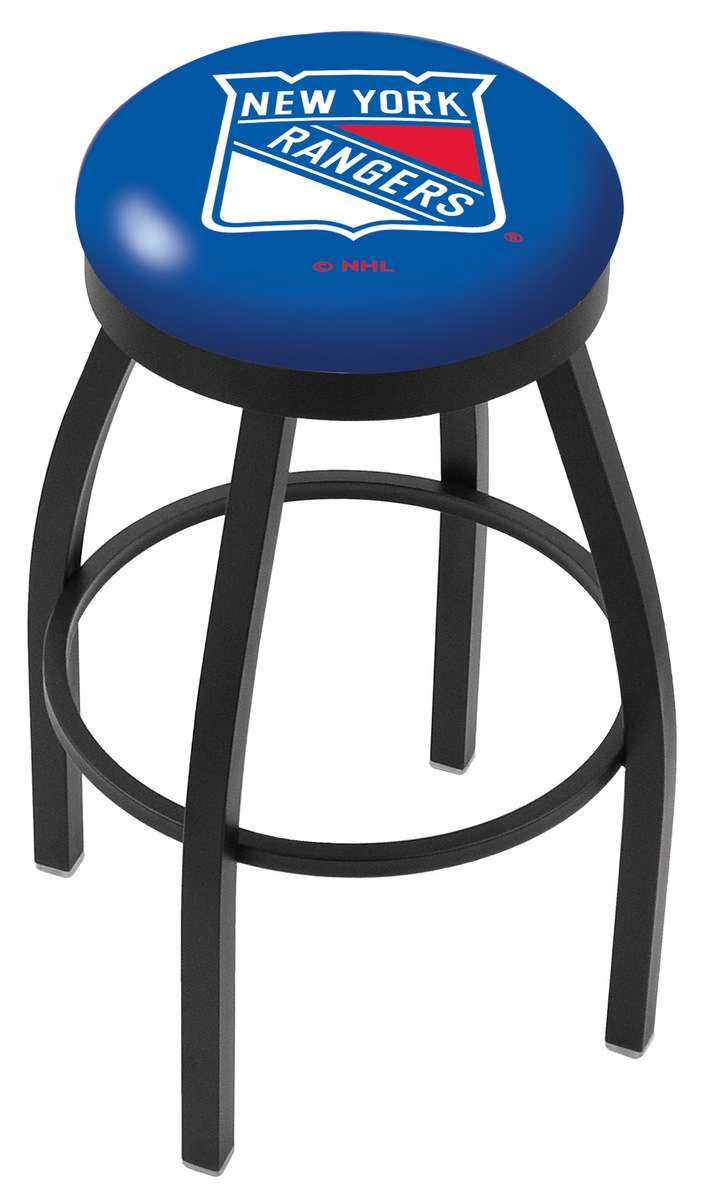 "25"" Black Wrinkle New York Rangers Swivel Bar Stool with Accent Ring"