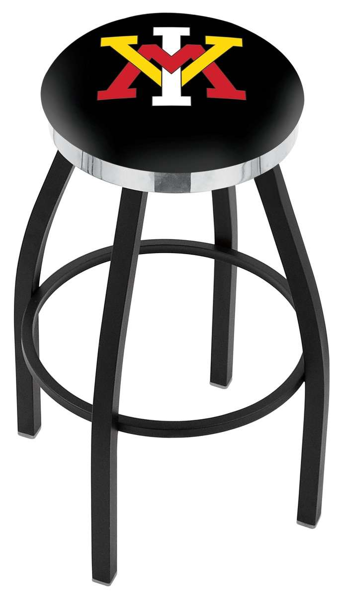 "25"" Black Wrinkle Virginia Military Institute Swivel Bar Stool with Chrome Accent Ring"