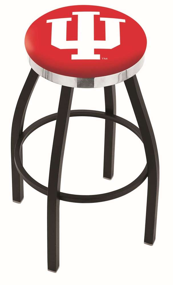 "30"" Black Wrinkle Indiana University Swivel Bar Stool with Chrome Accent Ring"