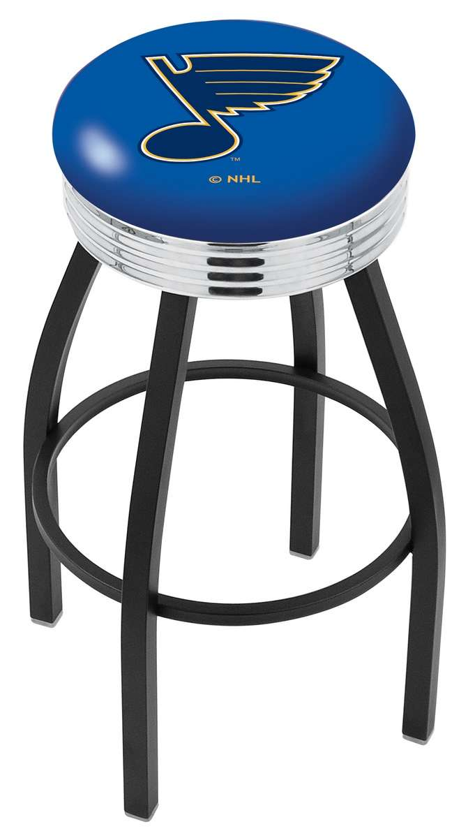 "30"" Black Wrinkle St Louis Blues Swivel Bar Stool with Chrome 2.5"" Ribbed Accent Ring"