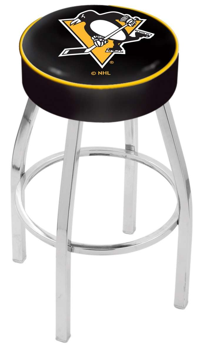 "30"" Pittsburgh Penguins Cushion Seat Swivel Bar Stool with Chrome Base"