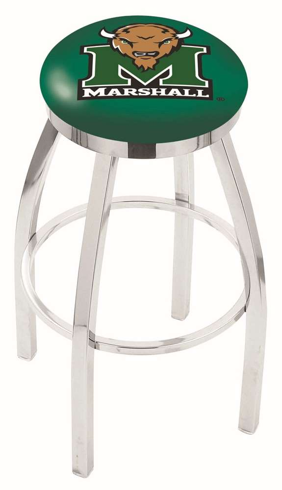 "25"" Chrome Marshall University Swivel Bar Stool with Accent Ring"