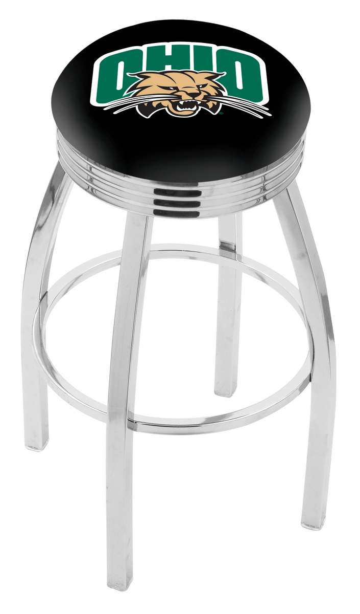 "25"" Chrome Ohio University Swivel Bar Stool with 2.5"" Ribbed Accent Ring"