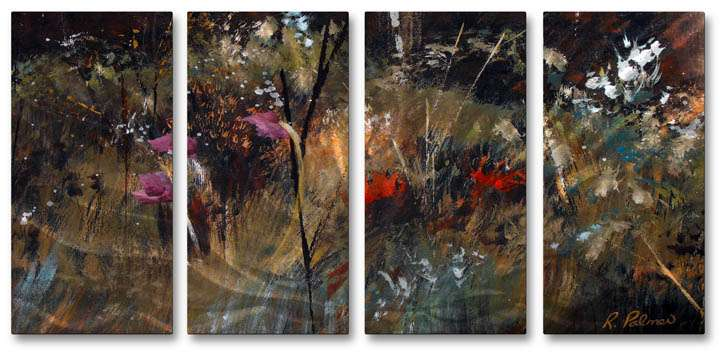 """23.5"""" x 51"""" """"Blue Grass And Wildflowers"""" Metal Wall Art by Ruth Palmer"""