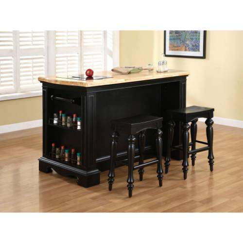 Powell Natural Pennfield Kitchen Island And Stool