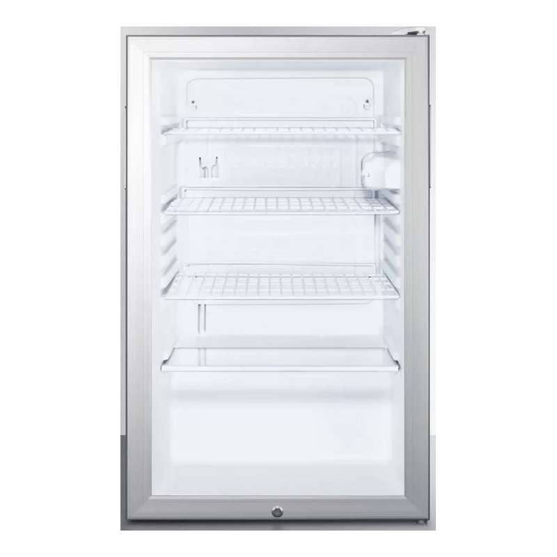 "AccuCold 20"" 4.1 cu. ft. Stainless Steel Frame Glass Door Freestanding/Built-In Undercounter Compact Refrigerator"
