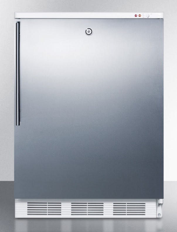 """AccuCold Medical 24"""" 3.5 cu. ft. Stainless Steel Built-In Undercounter Compact Freezer"""