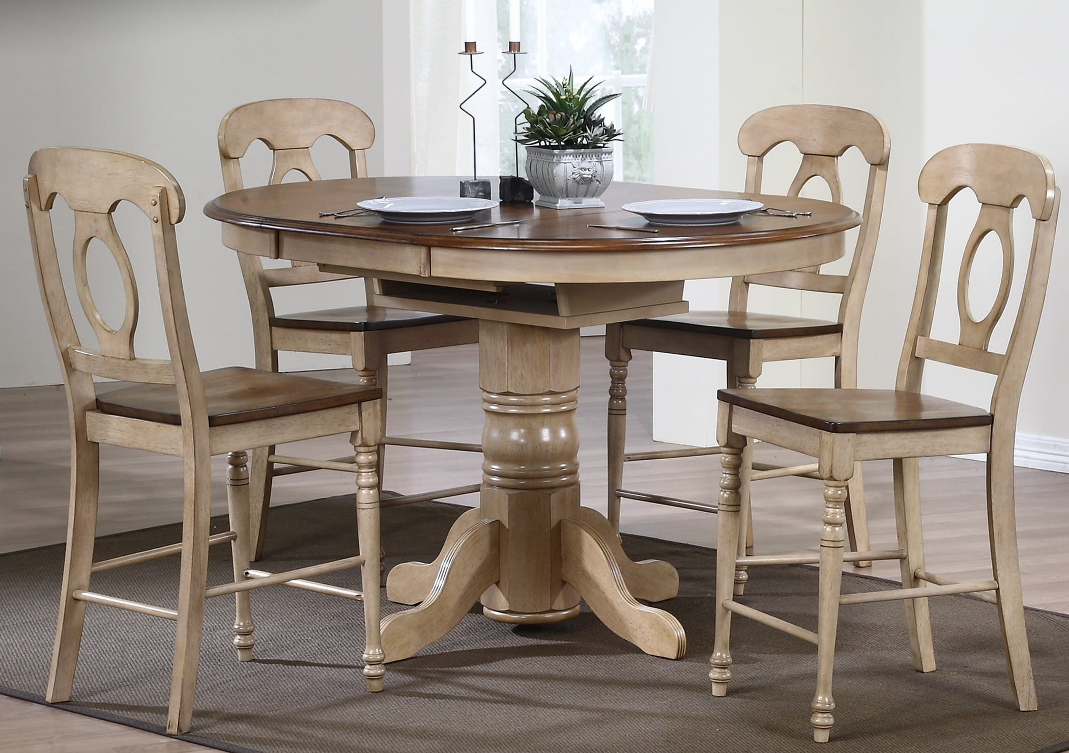 Brookside Light Creamy Wheat Butterfly Leaf Pub Table 5-Piece Set with Napoleon Stools