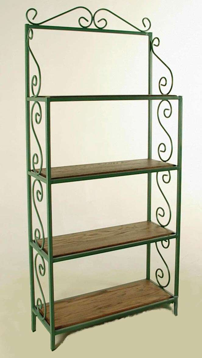 "Aged Iron 24"" Rack with 4 Wood Shelves without Tips"