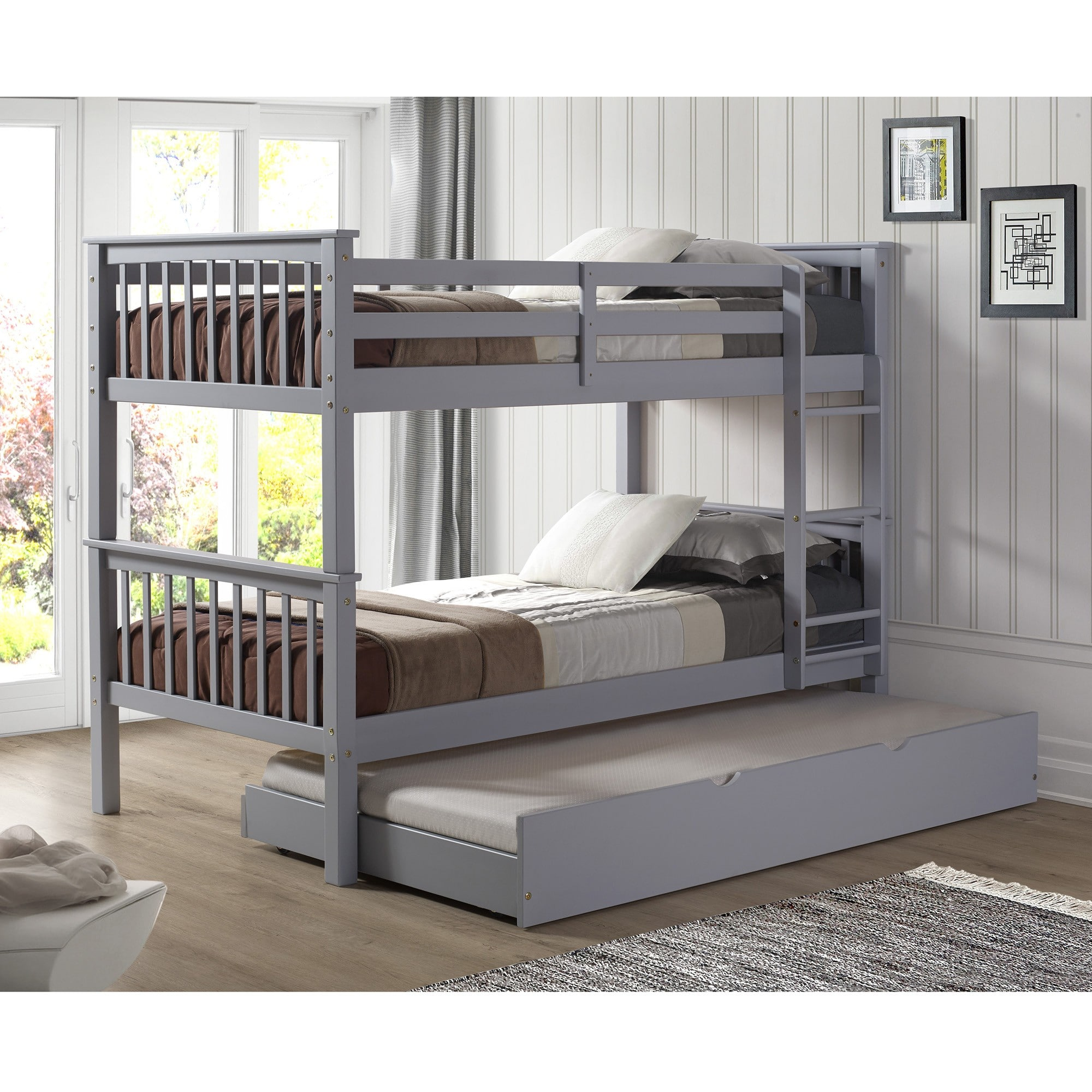 Grey Solid Wood Twin Bunk Bed With Trundle Bed
