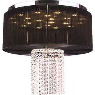 "Alice Collection 9 Light LED Chrome Finish and Clear Crystal with White String Shade 20"" D x 18"" H Round Large"