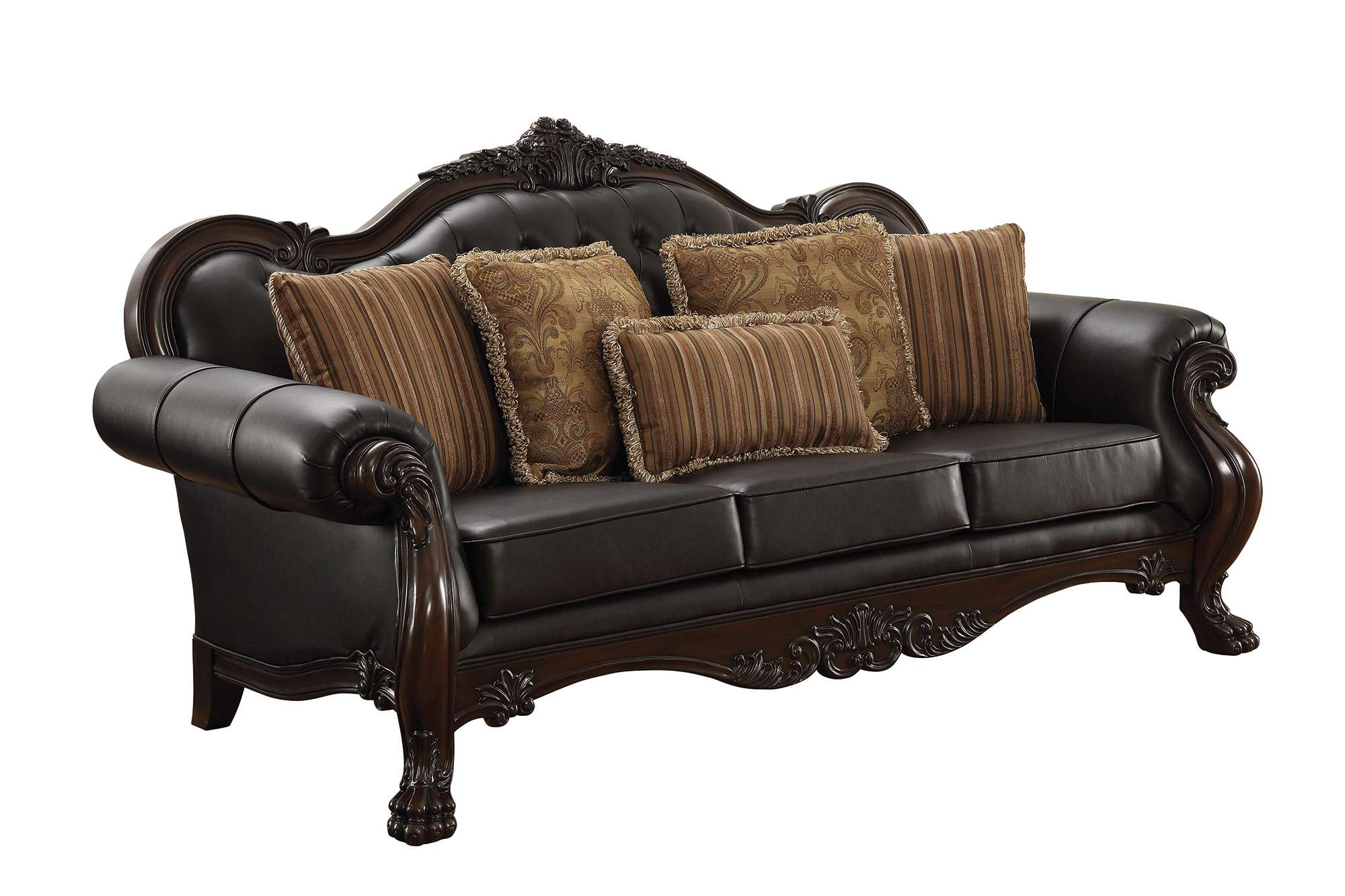 Amairani Yellow Traditional Faux Leather Sofa With Intricately Carved Wood  Frame