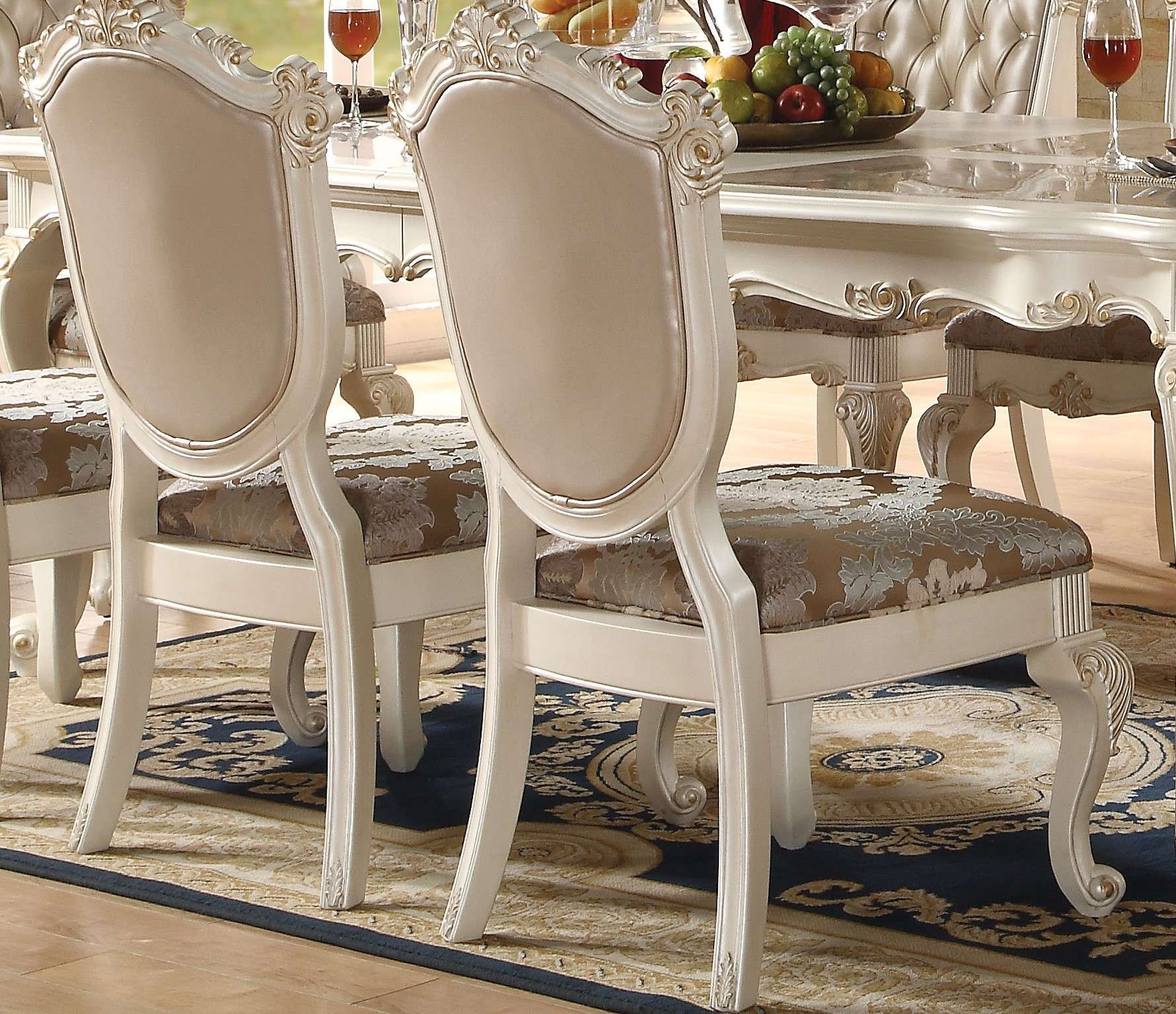 ACME Furniture Chantelle Rose Gold Upholstery & Pearl White Side Chair -  Set of 2 & Reviews - Goedekers.com