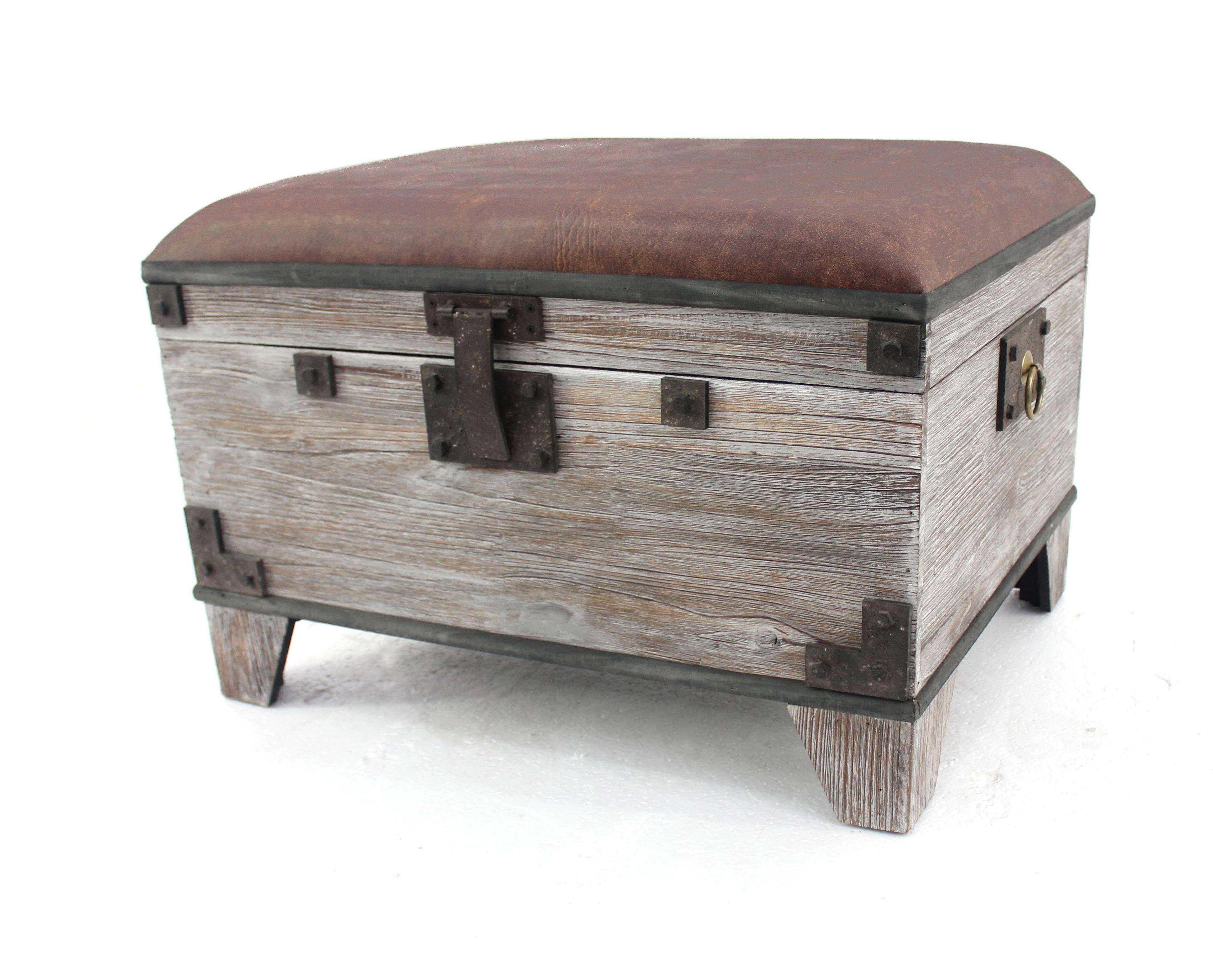 Distressed Wood Storage Bench With Cushioned Seat